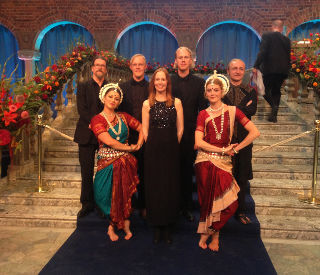 Freja Havesang at Stockholm Water Prize 2015, The City Hall, with musicians and dancers (Odissi Dansproduktion)